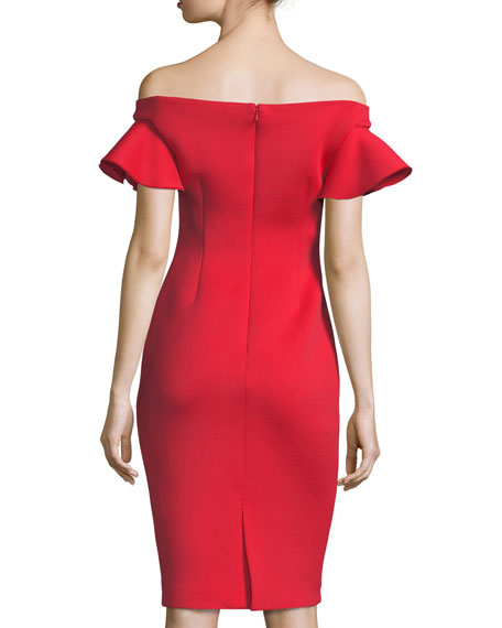 Off-the-Shoulder Ruffle Cap-Sleeve Cocktail Dress