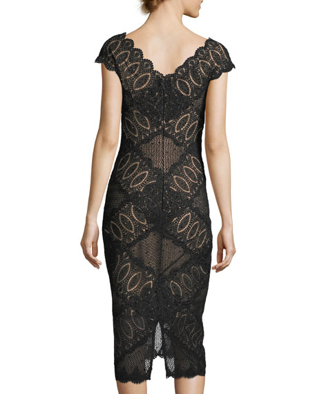 Short-Sleeve V-Neck Geometric Lace Cocktail Dress