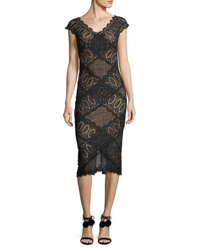 Short-Sleeve V-Neck Geometric Lace Cocktail Dress