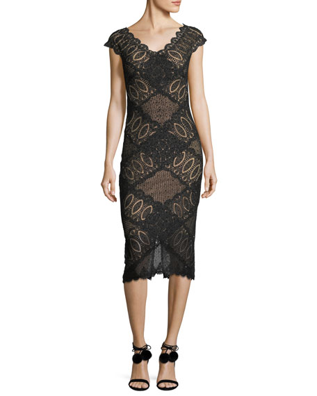 Jovani Short-Sleeve V-Neck Geometric Lace Cocktail Dress