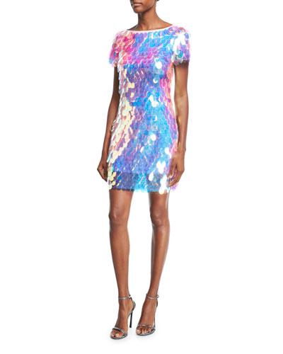 Paillette Sequin Short-Sleeve Cocktail Dress