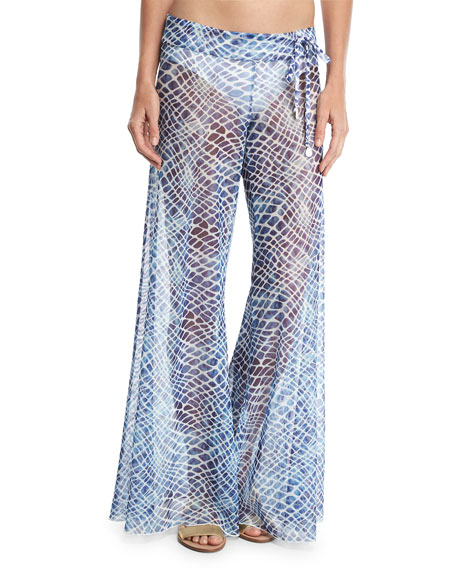 Printed Flared Sheer Mesh Pants
