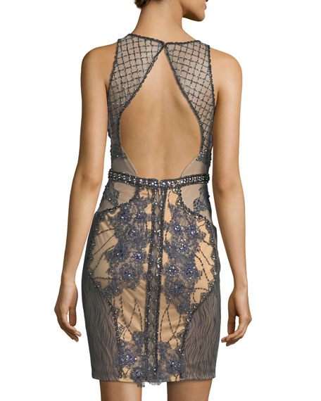 Sleeveless Embroidered Lattice Illusion Cocktail Dress
