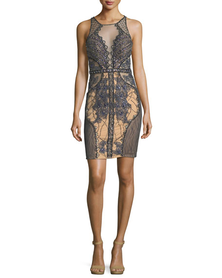 Sleeveless Embroidered Lattice Illusion Cocktail Dress