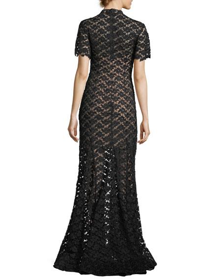 Short-Sleeve Crochet Overlay Evening Gown