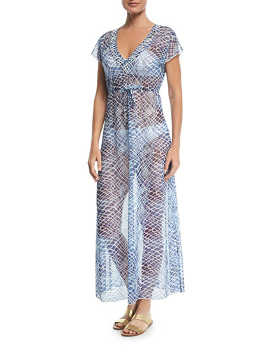 V-Neck Sheer Mesh Printed Maxi Dress