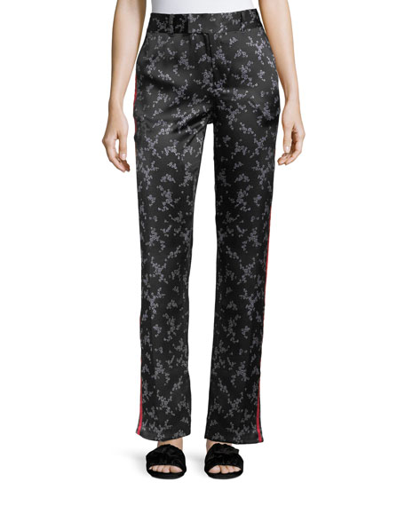 Equipment Florence Floral-Print Straight-Leg Silk Trousers