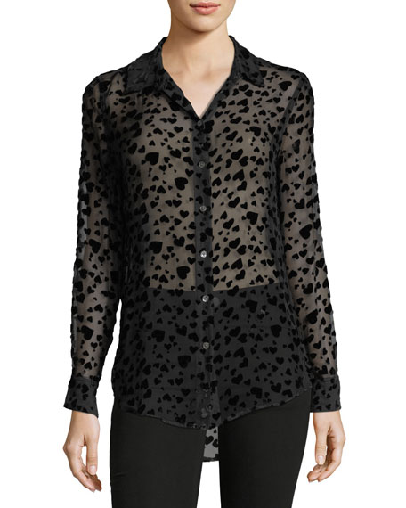 Equipment Essential Heart-Burnout Velvet Blouse