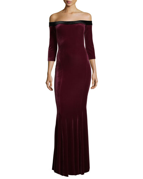 Off-Shoulder 3/4-Sleeve Velvet Fishtail Gown