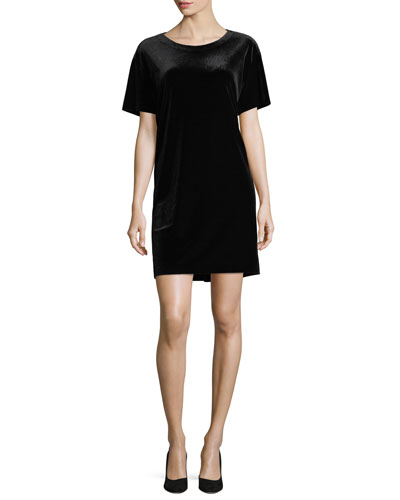 Velvet Short-Sleeve Shift Dress