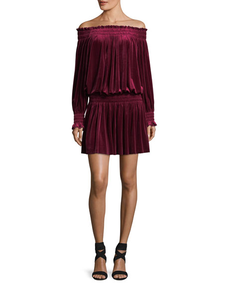 Off-the-Shoulder Velvet Peasant Cocktail Dress w/ Smocking