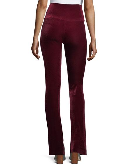 Velvet Pull-On Boot-Cut Pants