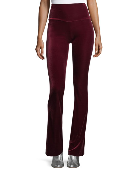 Velvet Pull-On Boot-Cut Pants