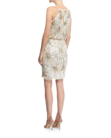 Beaded Blouson Cocktail Dress