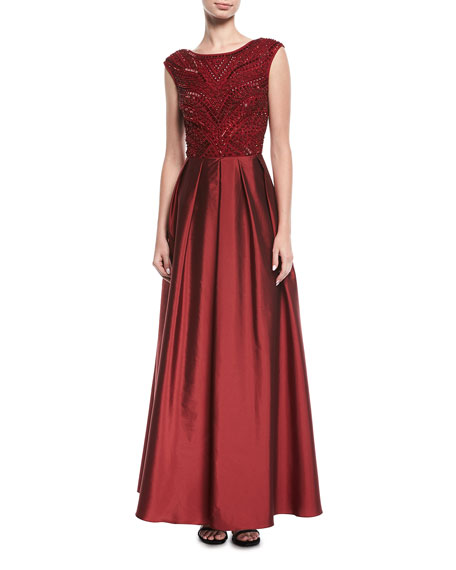 Beaded Evening Gown w/ Taffeta Skirt