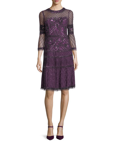 Embroidered Sheer Bell-Sleeve Cocktail Dress