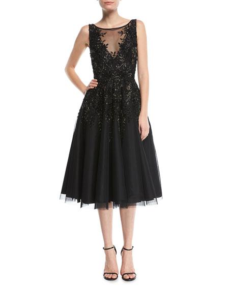 Beaded Tea-Length Cocktail Dress