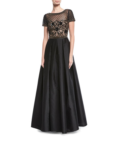 Beaded Illusion Short-Sleeve Evening Gown