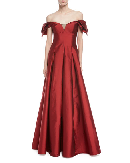 Aidan Mattox Off-the-Shoulder Semi-Sweetheart Gown