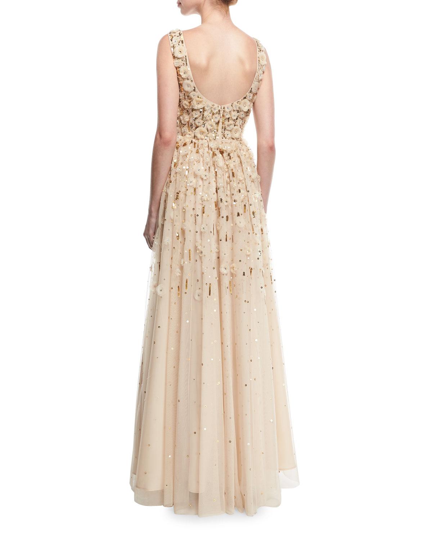 Aidan Mattox Rosette Beaded Evening Gown | Neiman Marcus