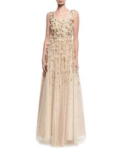 Rosette Beaded Evening Gown