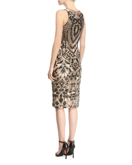 Embroidered Sequin Cocktail Dress