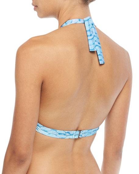 Banded Printed Halter Swim Top
