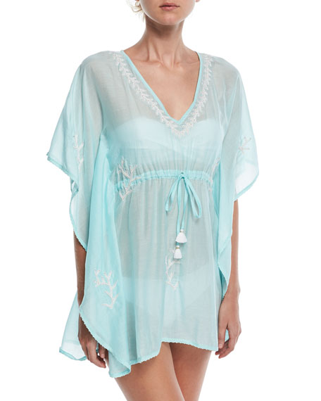 Letarte V-Neck Embroidered Lace Coverup