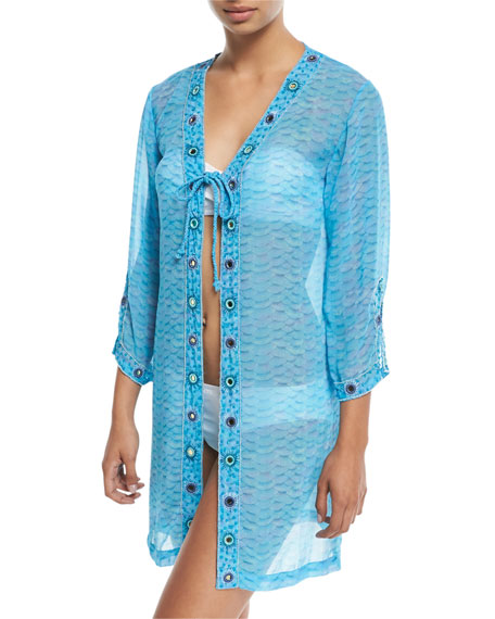 Long-Sleeve Printed Tie-Front Georgette Coverup