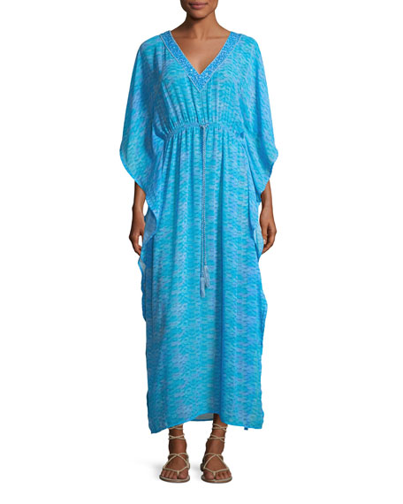 Letarte V-Neck Printed Georgette Caftan Maxi Dress