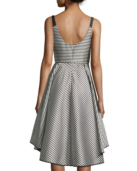 Scoop-Neck Striped Cocktail Dress w/ Dramatic Skirt