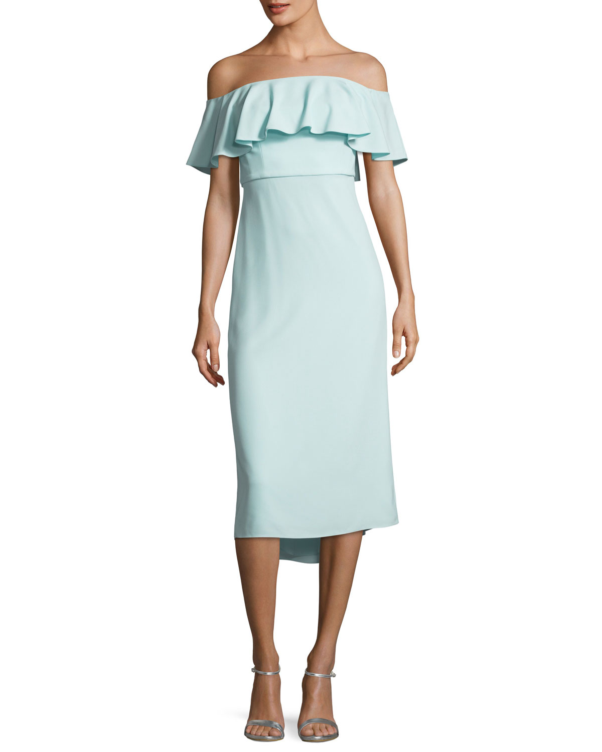 ad2949ac0b6f2 Halston HeritageRuffled Off-the-Shoulder Flounce Cocktail Dress