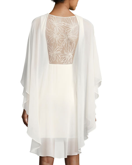 Fitted Cocktail Dress w/ Embroidered Sheer Overlay