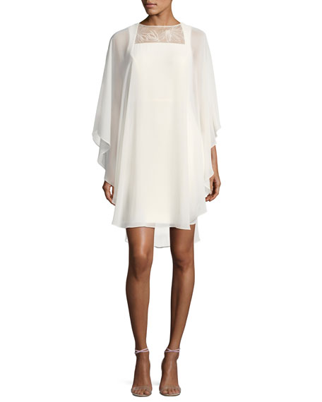 Halston Heritage Fitted Cocktail Dress w/ Embroidered Sheer