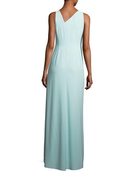 Sleeveless Asymmetric-Neck Evening Gown w/ Flowy Drape