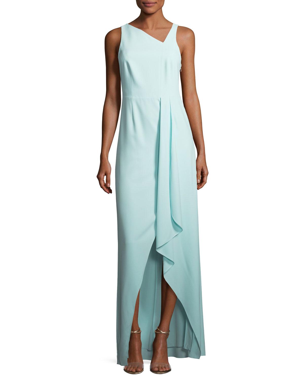 Sleeveless Asymmetric Neck Evening Gown W Flowy Drape