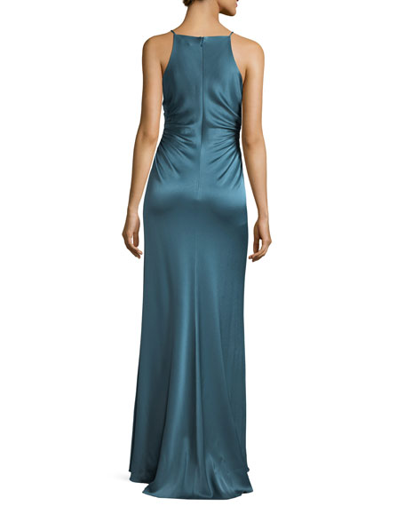 Long Evening Slip Gown  w/ Side Gathers