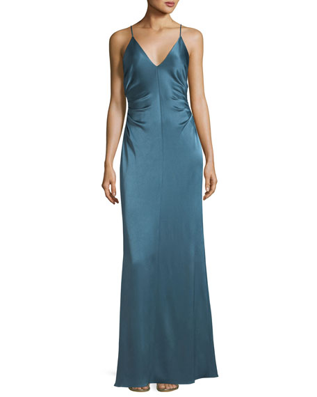 Halston Heritage Long Evening Slip Gown w/ Side