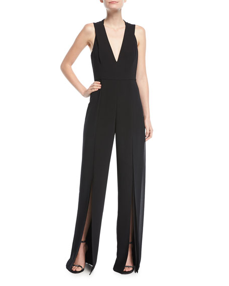 Halston Heritage Sleeveless Cutout-Back Chiffon Panel Jumpsuit