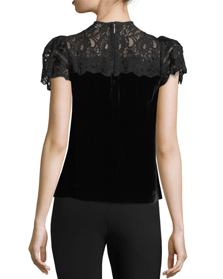 Mock-Neck Lace-Yoke Short-Sleeve Velvet Top
