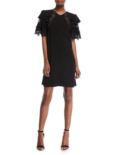 Short-Sleeve A-Line Crepe Dress w/ Lace