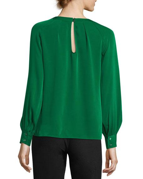 Maritsa Stretch Silk Long-Sleeve Top