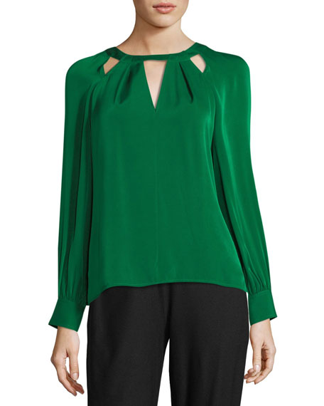 Maritsa Stretch Silk Long-Sleeve Top