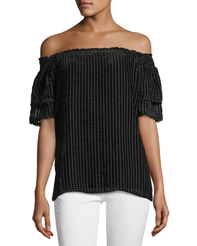 Amaris Off-the-Shoulder Velvet Grid Top