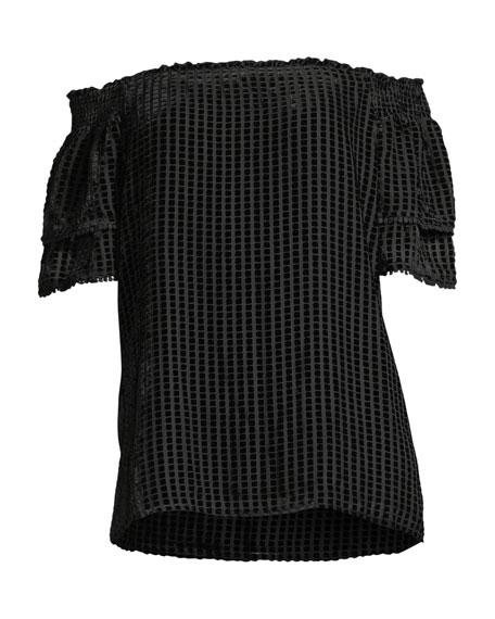 Amaris Off-the-Shoulder Velvet Grid Top