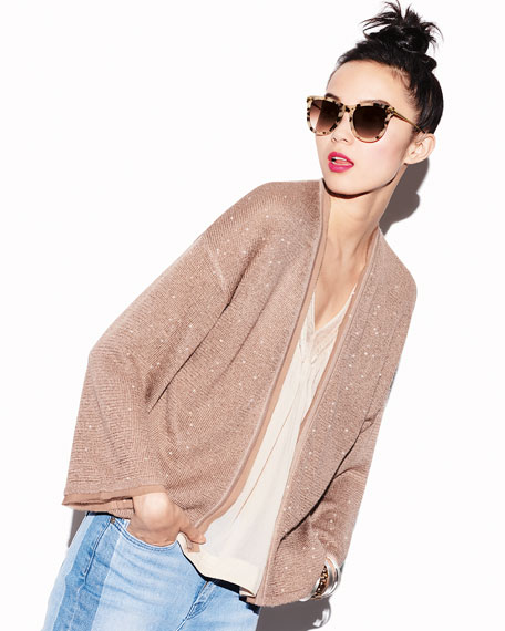 Sequin Silk/Cashmere Open Cardigan