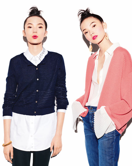 Open-Weave Silk/Cashmere Cardigan