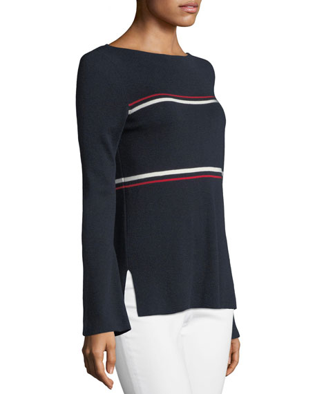 Crewneck Striped Bell-Sleeve Pullover