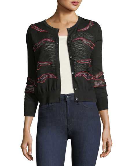 Cashmere Placed-Lace Crewneck Cardigan