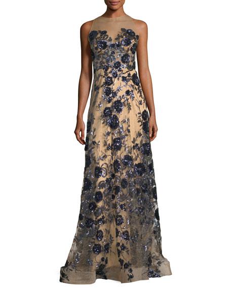 Jovani Floral Bustier Illusion Long Evening Gown | Neiman Marcus
